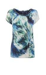 Karen Millen Palm Print T Shirt Blue Multi