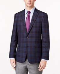 Tommy Hilfiger Men's Slim Fit Blue And Red Plaid Sport Coat