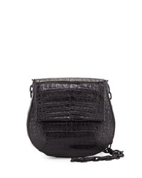 Nancy Gonzalez Round Flap Top Crocodile Crossbody Bag Black