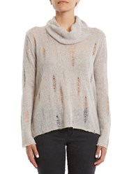 Three Dots Long Sleeve Distressed Sweater Ballet Pin
