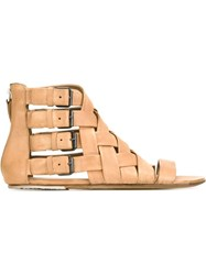 Marsa Ll Buckled Woven Sandals Nude And Neutrals