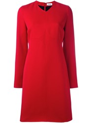 Courreges Long Sleeve Shift Dress Red