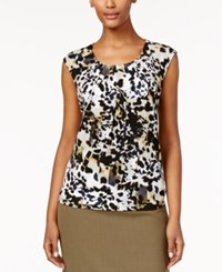 Kasper Printed Pleat Neck Sleeveless Top Loden Multi