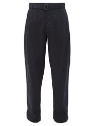 Raey Wide Leg Cotton Chino Trousers Navy
