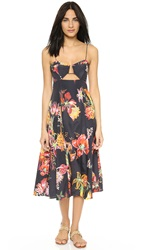 Shakuhachi Opium Dream Hard Wired Midi Dress Black With Print