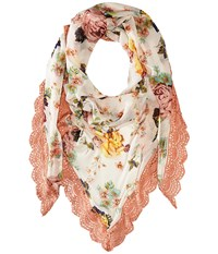 Betsey Johnson Gypsy Floral Triangle Blush Scarves Pink