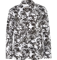 Jil Sander Printed Cotton Lightweight Blazer Black