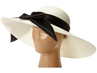 Scala Polybraid Big Brim Sun Hat With Satin Bow White Caps