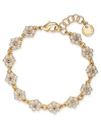 Charter Club Gold Tone Crystal And Imitation Pearl Flower Link Bracelet Created For Macy's