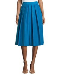 Catherine Catherine Malandrino Ronnie Pleated A Line Midi Skirt Azure Blue