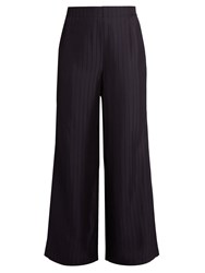 Acne Studios Tennessee Shadow Striped Wide Leg Trousers Navy