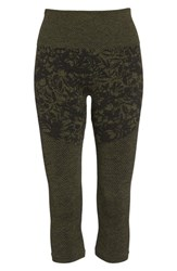 Climawear Pathway Capri Leggings Deep Lichen Green Black