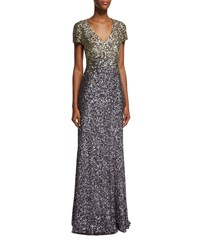 Pamella Roland Short Sleeve Ombre Sequined Gown Gunmetal Deco Gold
