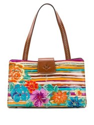 Patricia Nash Floral Embroidered Leather Satchel Tan