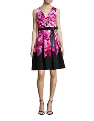 Chetta B Floral Fit And Flare Dress Strawberry