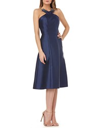 Kay Unger New York Fit And Flare Halter Dress W Beading Navy