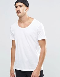 Weekday Daniel Scoop Neck T Shirt In White White 10 100