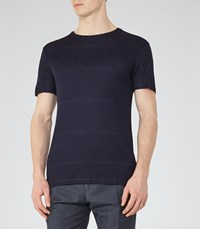 Reiss Cowdry Mens Fleck Stripe T Shirt In Blue