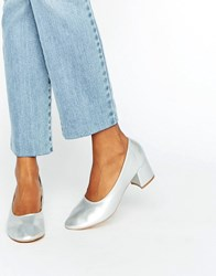 Daisy Street Silver Mid Heeled Shoes Silver