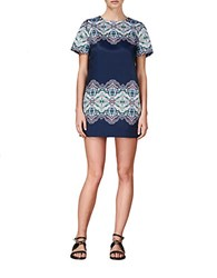 Cynthia Rowley Paisley Shift Dress Cobalt Navy