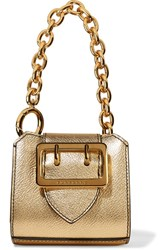 Burberry Metallic Textured Leather Keychain Gold