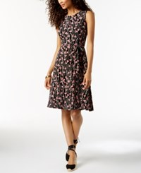 Charter Club Petite Printed Fit And Flare Midi Dress Created For Macy's Deep Black Combo