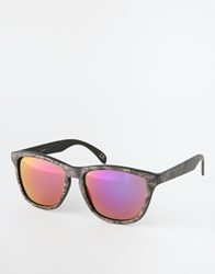 Asos Square Wrap Style Sunglasses With Snake Print And Revo Lens Multi