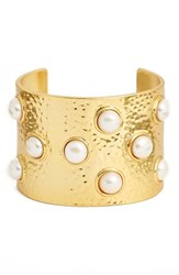Women's Karine Sultan Hammered Faux Pearl Cuff