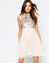 Little Mistress Skater Dress With Glitter Bodice Nude Cream