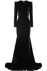 Alex Perry Cutout Velvet Gown Black