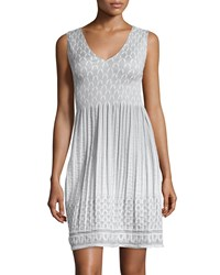 Max Studio Smocked Jacquard Sleeveless Dress Ivory Gray