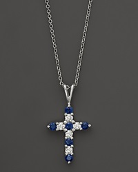 Bloomingdale's Diamond And Sapphire Cross Pendant Necklace In 14K White Gold .25 Ct. T.W 16.5 No Color