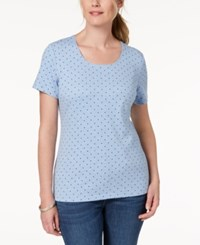 Karen Scott Dot Print T Shirt Created For Macy's Light Blue Heather Dot Combo