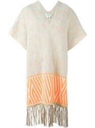 Antonia Zander 'Marrakech' Fringed Knit Kaftan Nude And Neutrals