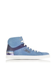 D'acquasparta D Plus B Cobalt Blue High Top Suede Sneaker