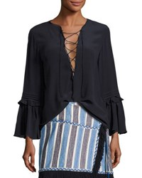 Figue Poet Lace Up Silk Top Navy