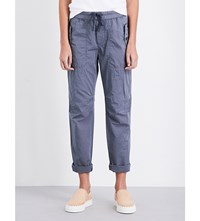James Perse Relaxed Fit Cotton And Silk Blend Trousers Storm