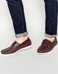 New Look Boat Shoe In Faux Leather Burgundy