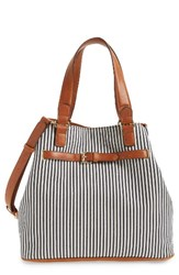 Sole Society 'Nina' Belted Geo Tote Blue Navy Cream