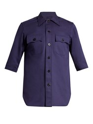 Balenciaga Patch Pocket Cotton Drill Shirt Navy