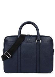 Boss Signature Navy Saffiano Leather Briefcase