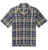 Camoshita Skipper Checked Cotton And Lyocell Blend Twill Pullover Shirt Blue