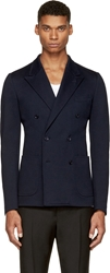 Dolce And Gabbana Navy Blue Piqu Double Breasted Blazer