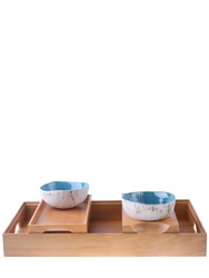 Solantu Large Wooden Tray With 2 Small Trays