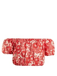 Lisa Marie Fernandez Leandra Floral Embroidered Cotton Cropped Top Red Multi