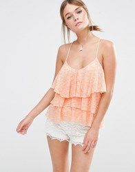 New Look Tiered Lace Cami Nude Beige
