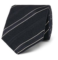 Kingsman Drake's 8Cm Striped Textured Silk Tie Navy