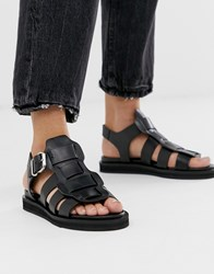 Bronx Black Leather Chunky Gladiator Sandal