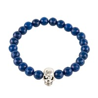 Latelita London Skull Bracelet Sterling Silver Dark Blue Agate Blue Silver