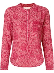 Xirena Floral Print Long Sleeve Blouse Red